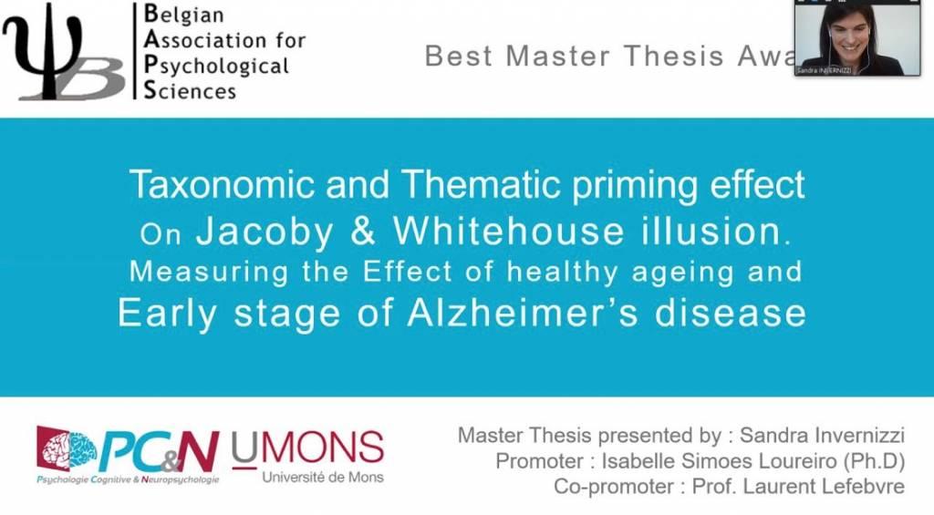 Le best Master Thesis 2021 à une jeune chercheuse en psychologie cognitive