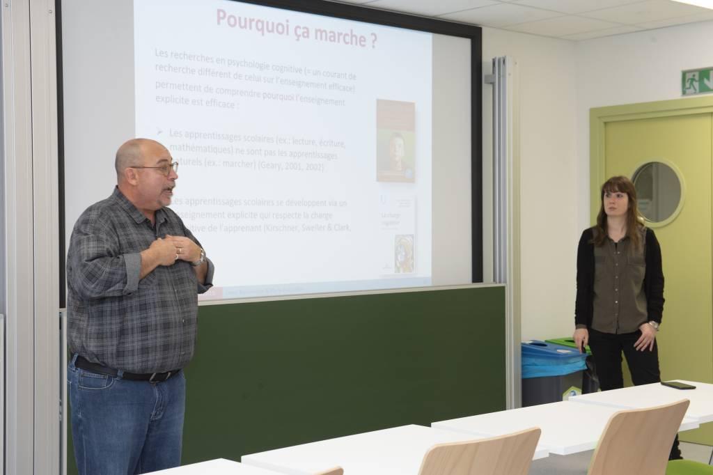 Moment d'échange avec nos partenaires à l'occasion de la Conférence de Steve Bissonnette et Marie Bocquillon le 6 novembre dernier sur « l'efficacité des pratiques ».