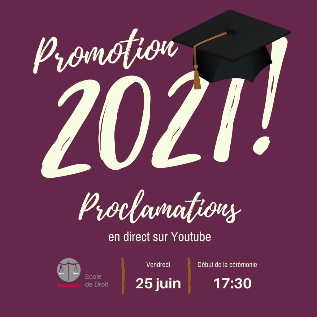 Promotion 2021 : une proclamation diffusée en direct sur Youtube le 25 juin