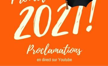 Promotion 2021 : une proclamation diffusée en direct sur Youtube le 30 juin
